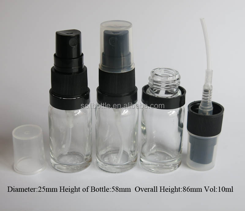 Tamper evident cap clear glass 10ml spray bottles whloesale essential oil glass bottle