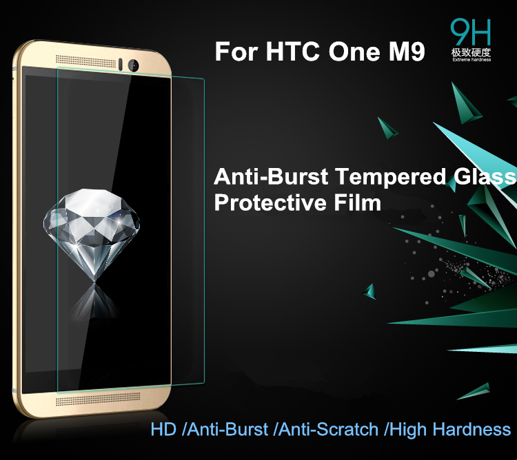 High Quality Premium 0.26mm Tempered Glass For HTC One M9 Plus M9 M8 M7 M8 Mini M4 Max E8 E9 Me Retail Package
