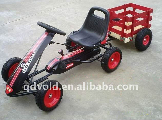 single seat pedal go kart with trailer
