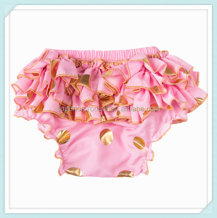 Pink cotton baby pants baby PP pants stretch cotton gold dot printing bloomer fabric boutique cotton polka dots baby girl shorts
