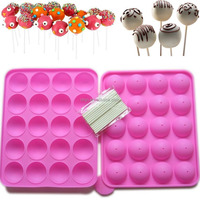 Silicone Cake Mold 20-cavity Half Circle Lollypop Party Cupcake Baking Mold Cake Pop Stick Mold Tray Pink