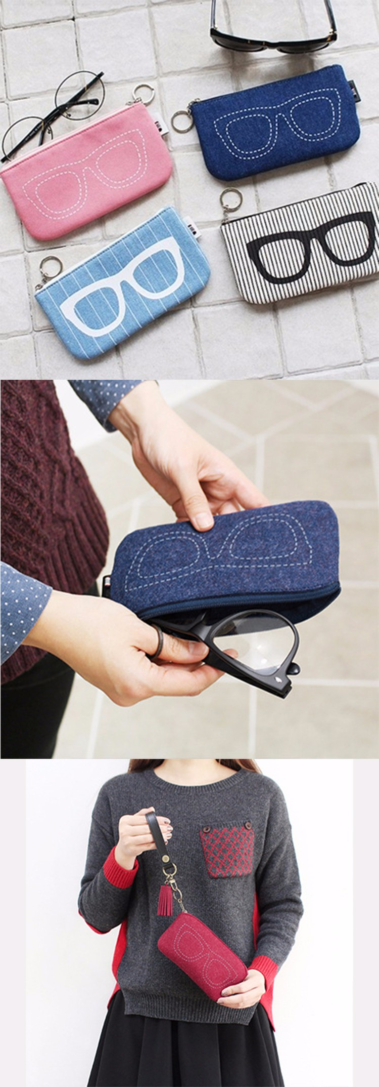 ADEWU 2017 high quality wholesale leather label felt sunglasses pouch bags