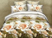 Beautiful Pagoda and Rose 3d Cotton bedspreads