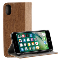 2018 Hot Selling New Products Wood Wallet Flip Cover Leather Mobile Phone Case for iPhone X