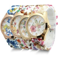 women fashion flower printed silicone watch lady fancy watches for girl wrist gold watch promotional gift