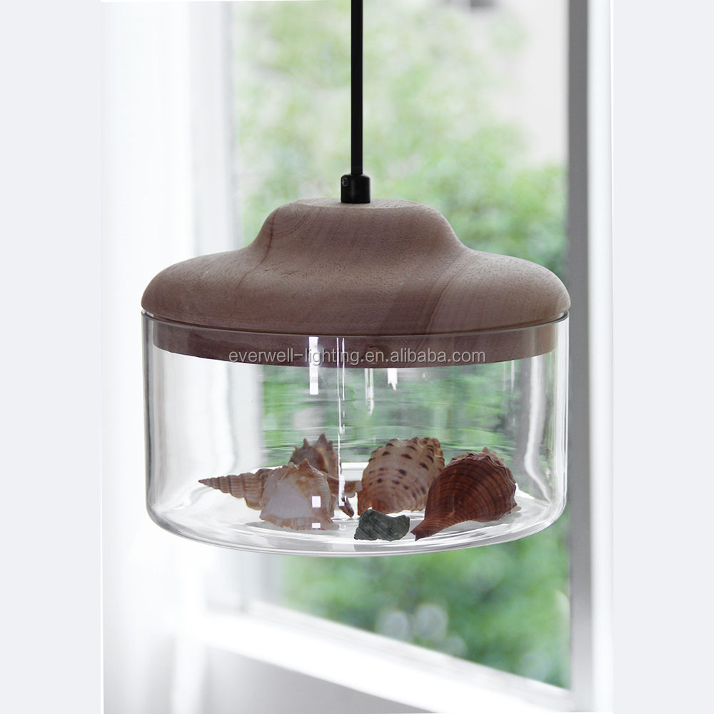 Modern glass with bird new design wood hanging light indoor led pendant lamp