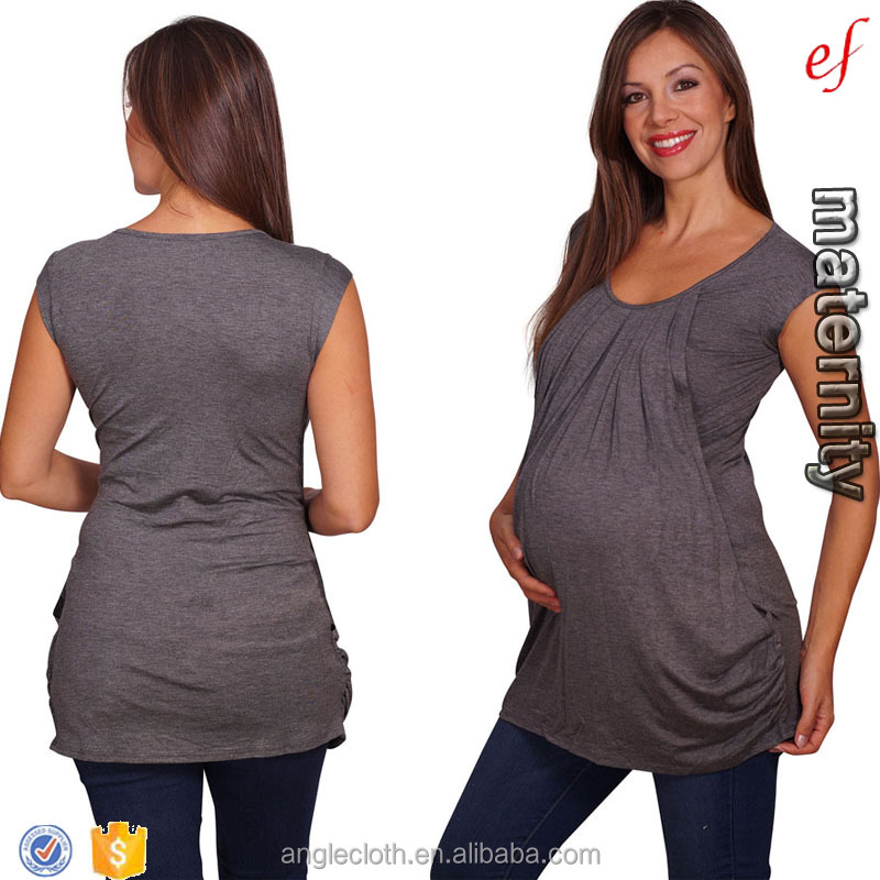 OEM China clothing maternity supplier hot selling Cap Sleeve Scoop Neck Front Pleated Maternity & Nursing Tunic