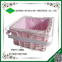 Wicker material woven lined square rattan basket