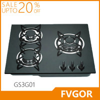 Fvgor GS3G01 indoor blue flame three burner gas stove with glass top