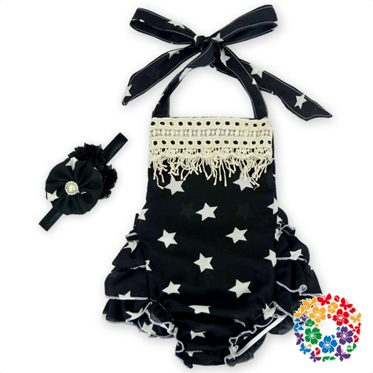 YF7321 summer 2016 star cotton overalls romper girls baby sling climbing clothes