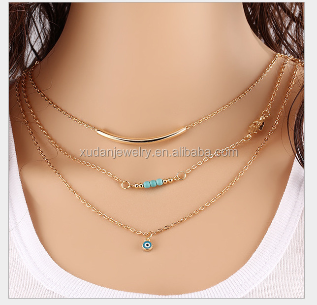 Jewelry Wholesale Fashion Choker Gold Plated Evil Eye Bead Turquoise Necklaces For Women Statement necklaces & pendants