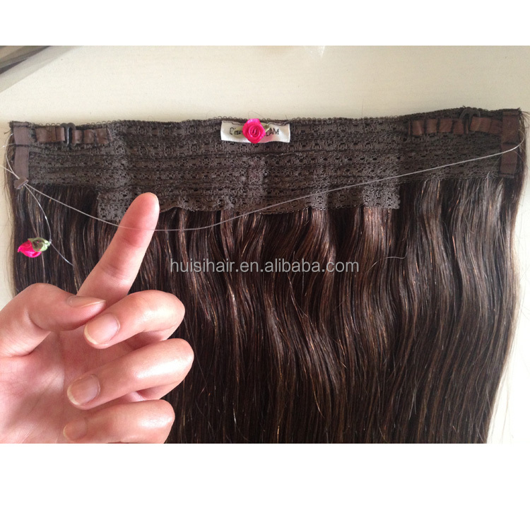 Hot sale new products manufacturer supply fashionable virgin brazilian remy halo hair with fish wire