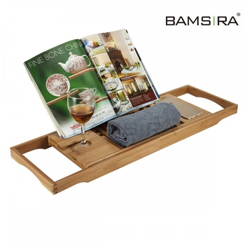 Bamboo Bath Caddy Tray Wooden Bath Tray with Wine Glass Holder/Bamsira_Factory
