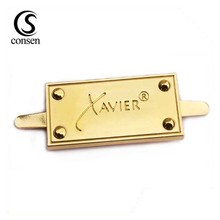Handbag hardware accessories custom engraved logo designer metal labels tags for women bag