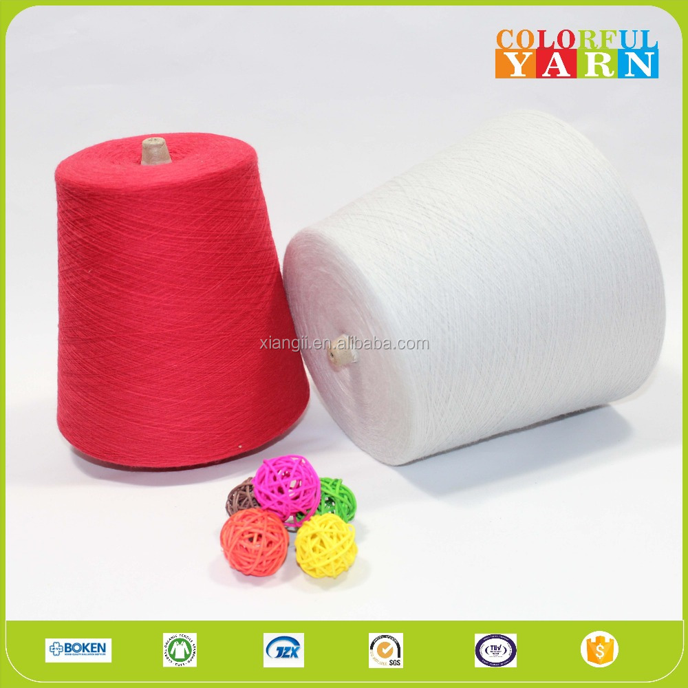 Recycled cotton polyester open end yarn for socks