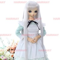 Wholesale Long white Hair, Straight Hair, Synthetic Doll Wig