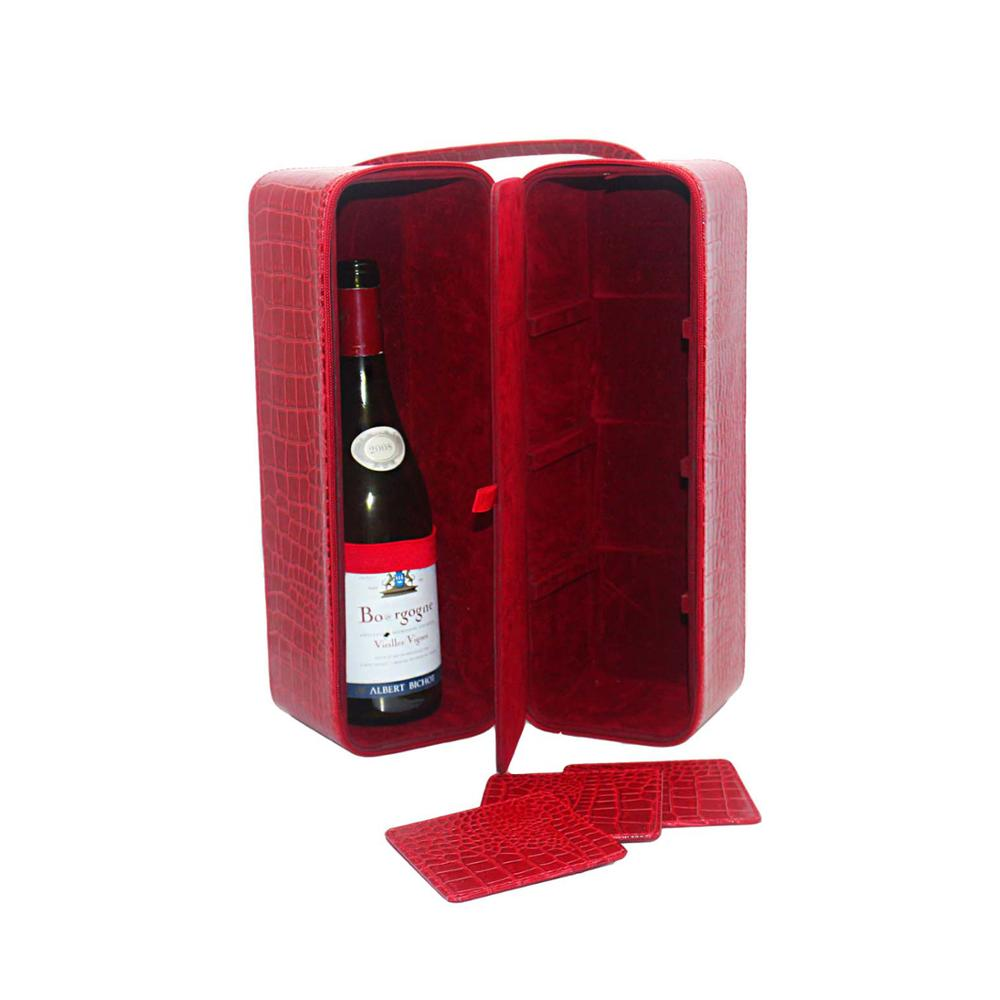 2 bottles custom red crocodile grain faux leather wine box