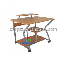 Unique design wood computer laptop table desk shelf models with wheels