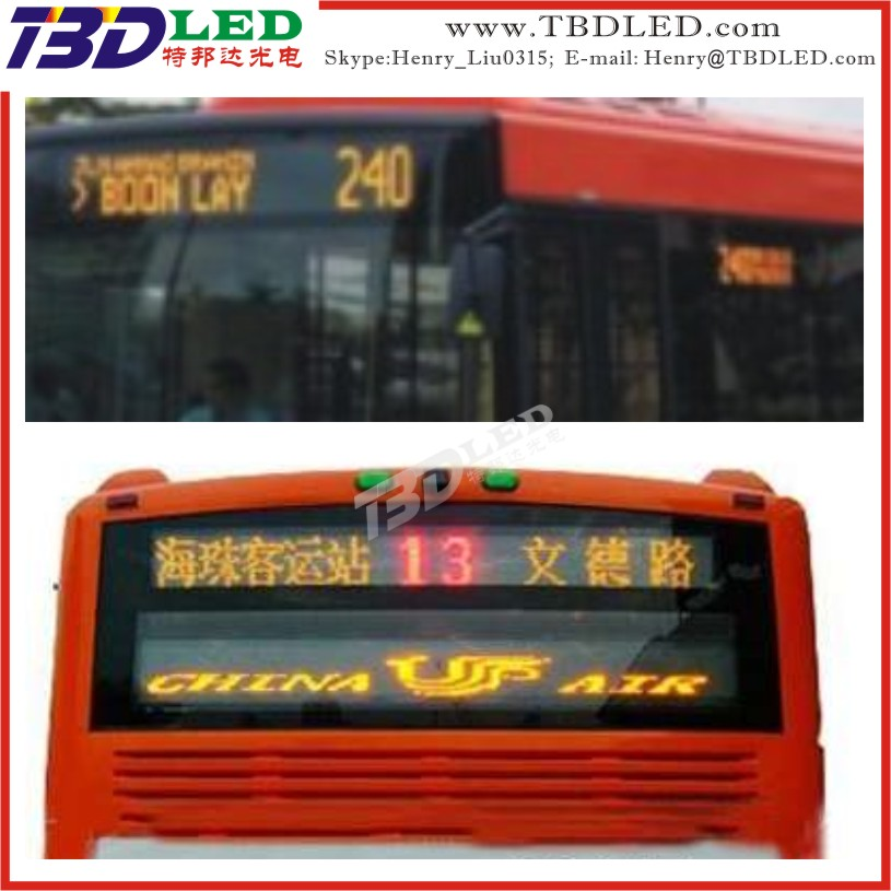 bus advertising led display sign for bus,led bus display screen sign,Vehicle used led display moving message sign