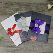 Hot Sale High Quality Elegant Ribbon Pakistan Wedding Invitation Pocket