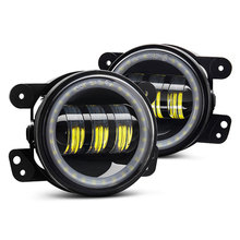 "4"" Inch 30W LED Fog Light Lamps White Full Halo Angel Eyes FOR Jeep"