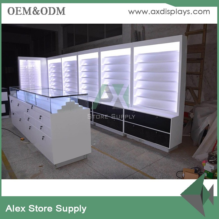 glass MDF mobile phone store display counter furniture showcase for cell phone accessories shop
