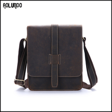 Vintage leather crossbody school boy shoulder bag for ipad
