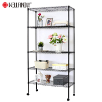 Wholesale 5 Wire Shelf Storage Black Light Duty Closet Maid Metal Home Goods Wire Shelving Kit on Wheels