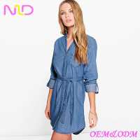 Latest tie waist collar shirt women fashion dress women fashion sexy dress 2016 new latest denim dress designs