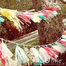 Garden party Tassel Garland- Birthday Party - Wedding - Baby Shower -Birthday- Nursery-Tissue Paper Tassel Garland Kit