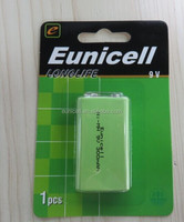 Eunicell Long life high quality NI-MH 9V rechargeable battery for microphone /toy /multimeter /remote control car