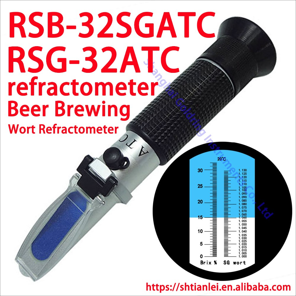Wholesale portable brix Refractometer for S.G. 1.000-1.130 Wine wort and beer brewing 0-32% brix RSG-32ATC
