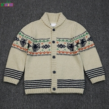 2017 NEW STYLE high quality shawl collar jacquard baby boy's Knitted cardigan sweater