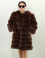 women 8 colors choice S to 4XL size detachable 90cm long body round collar detachable 50cm sleeves hooked real fox fur coat