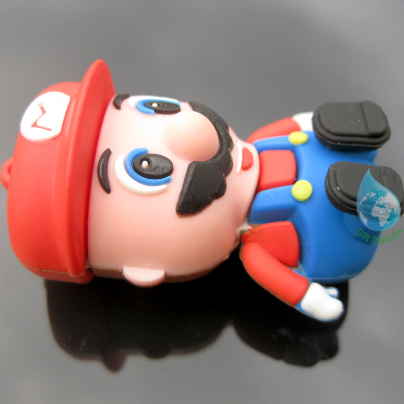 Wholesale 3D super mario PVC USB keychain/new product cartoon character PVC USB