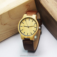 newest eco-friendly natural bamboo wood woman leather watch