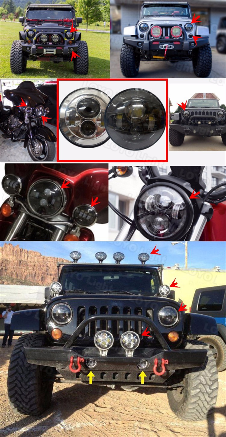 "Real Factory 105W DOT 7"" 7 inch Round Rebeather LED Headlight for Jeep Wrangler"