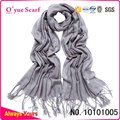 Gray Solid Colored Pashmina Scarf