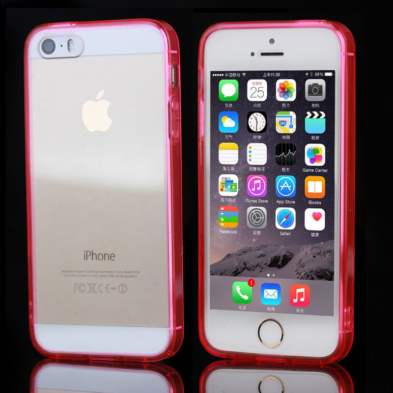 for iPhone5 5S Crystal PC back TPU side cover case with cable and earphone plug