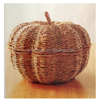 Handmade seagrass decorative storage basket with lids