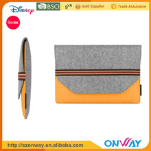 "Gray Felt & Real Leather Carrying Bag Case Sleeve Perfect to Protect 13"" Laptop,Notebook"