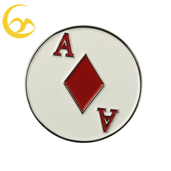 Existing production poker diamond golf ball marker