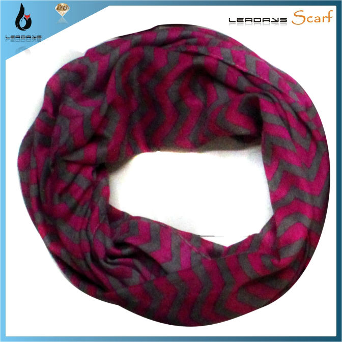 100% polyester linen hot selling fashion infinity chevron scarf