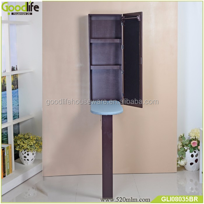 wood furniture wall mounted ironing board and storage cabinet
