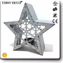 Galvanized Star decorative Metal Candle Holder