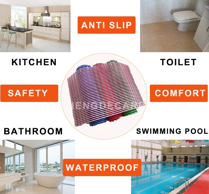 new carpet designed colorful washable custom pvc bathroom mat