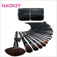 Professional classic black 32 pcs make up brush set with cosmetic PU bag