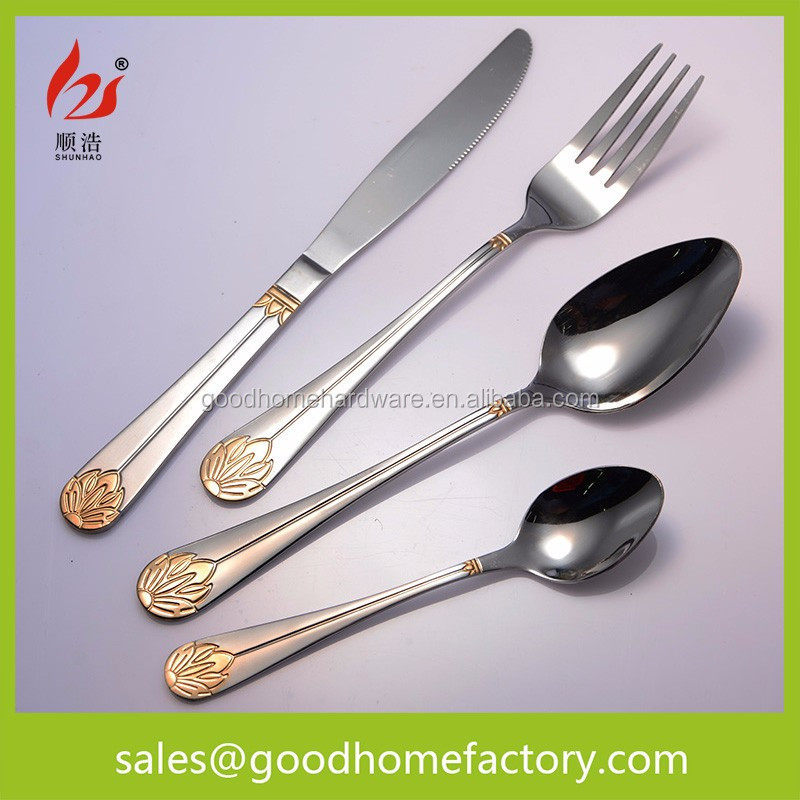 Gold Plated Cutlery Mirror Polish Stainless Steel Set, Metal gold flatware set,royal stainless steel cutlery set