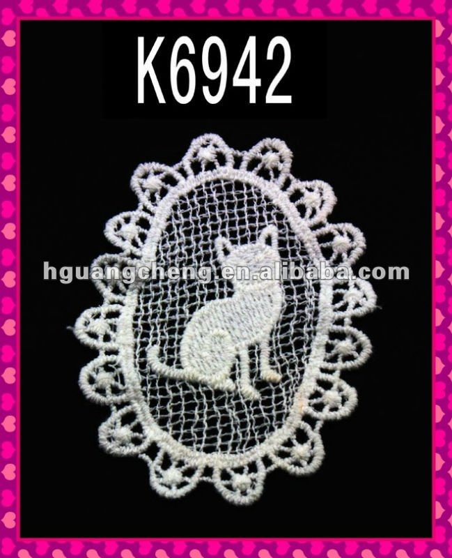 K6942/New Cute Cat Motif/Cotton Embroidery Lace Applique