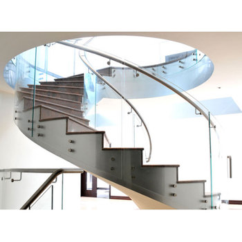 Simple Indoor Wrought Iron with glass railing Curved Stairs Design